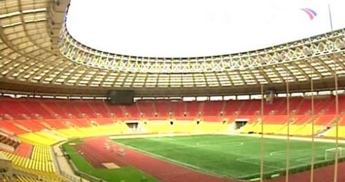 Moskova'nın sahası lujniki stadı, zorlu maça hazırlanıyor